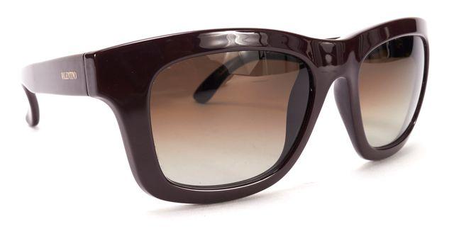 VALENTINO Burgundy Red Stud Embellished Acetate Gradient Lens Square Sunglasses