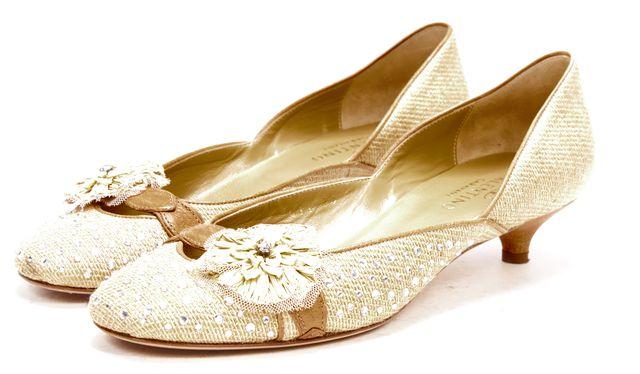 VALENTINO Brown Canvas Jewel Embellished Kitten Heels
