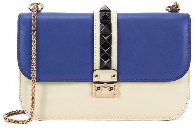 VALENTINO Blue Beige Leather Rockstud Glam Lock Chain Medium Crossbody Bag