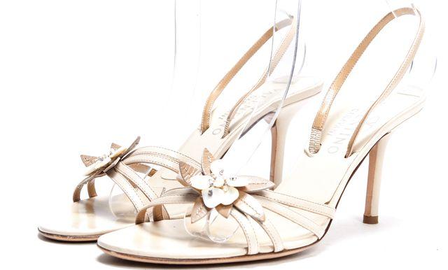 VALENTINO Nude Multi Strap Flower Embellished Sling Back Sandals