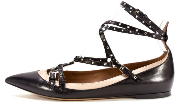 VALENTINO Black Nude Leather Grommet Garavani Love Latch Ballerina Flats