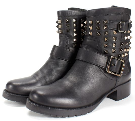 VALENTINO Black Leather Rockstud So Noir Biker Boots