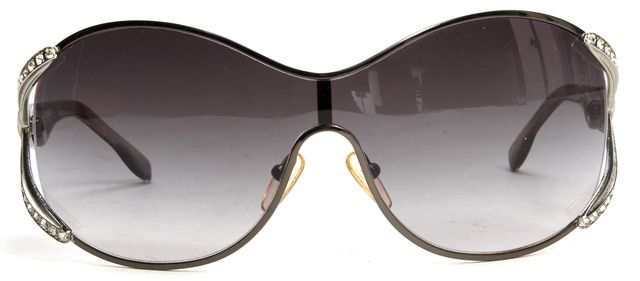 VALENTINO Gray Metal Frame Crystal Embellished Gradient Lens Sunglasses w/ Case