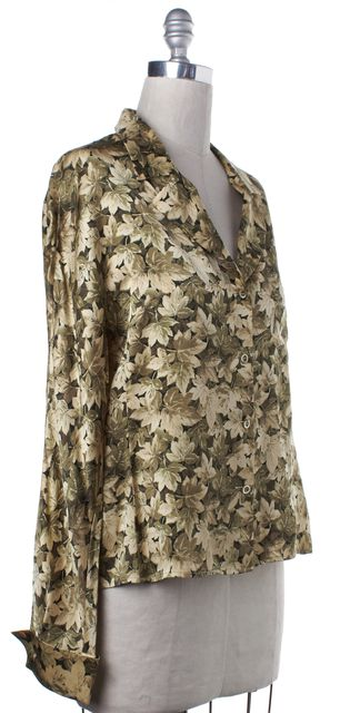 VALENTINO Green Leaf Print Blouse