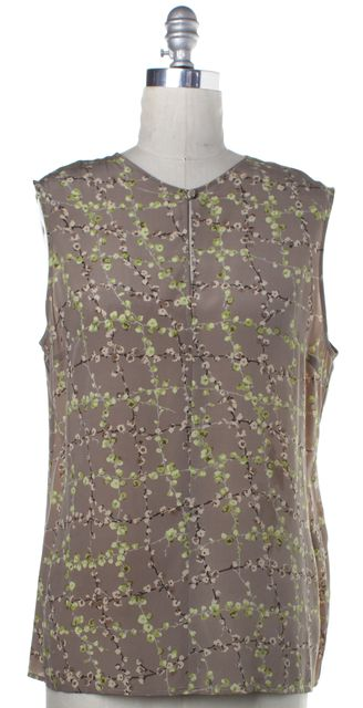 VALENTINO Beige Green Floral Silk Keyhole Tank Blouse