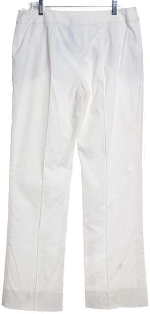 VALENTINO White Floral Applique Wide Leg Dress Pants