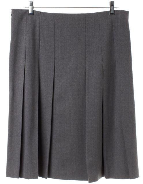 VALENTINO Gray Wool Pleated Skirt