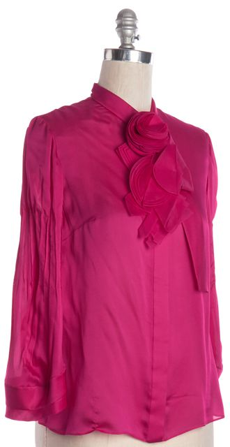 VALENTINO Pink Ruffle Trim Long Sleeve Blouse Top