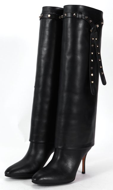 VALENTINO Black Leather Casual Stud Embellished Knee-High Tall Boots