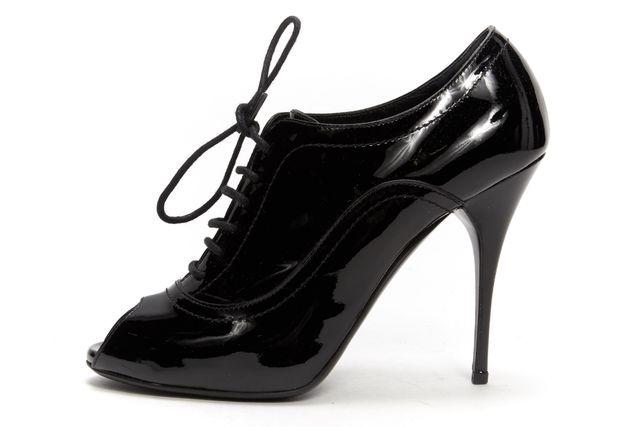 VALENTINO Black Patent Leather Peeptoe Ankle Boot Heels