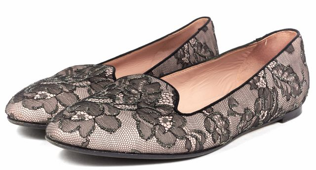 VALENTINO Pink Black Floral Lace Loafer Flats