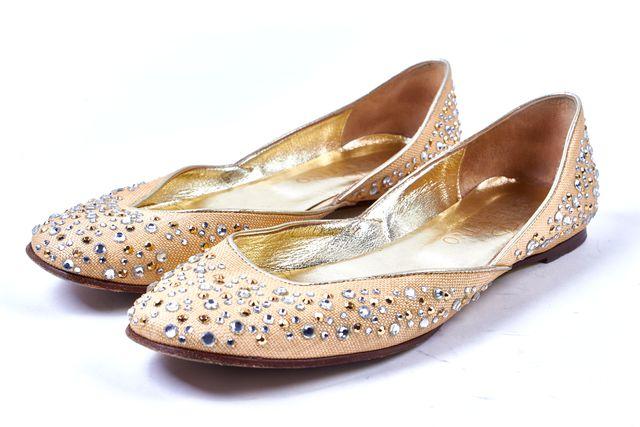 VALENTINO Beige Gold Silver Jewel Embellished Canvas Ballet Flats