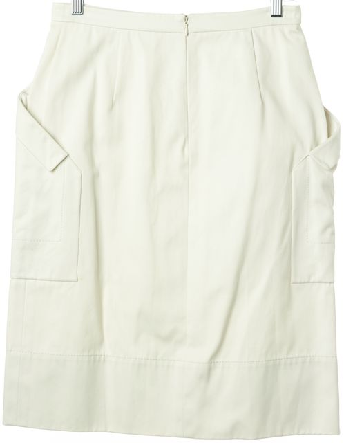 VALENTINO Beige Casual Straight Split Front Embellished Button Skirt