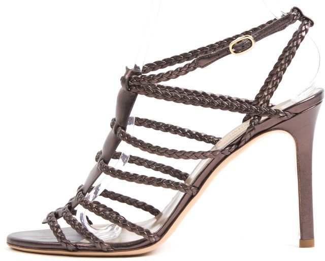 VALENTINO Pewter Braided Metallic Leather Open Toe Ankle Strap Heels