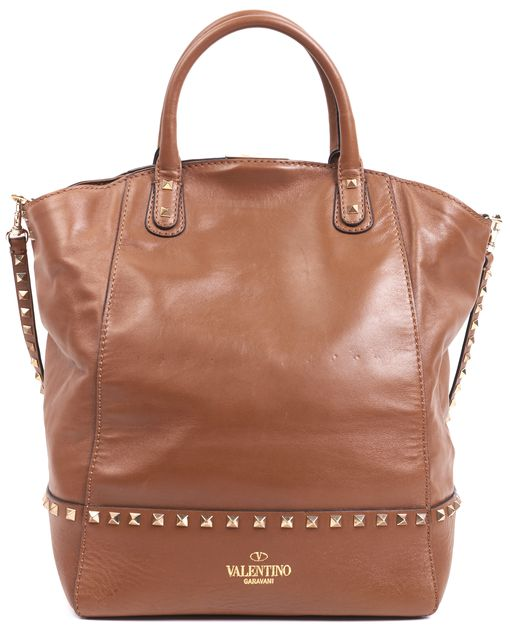 VALENTINO Brown Leather Gold Rock-Stud Embellished Dome Tote Satchel Bag