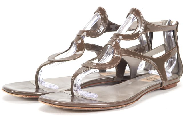 VALENTINO Taupe Green Patent Leather Sandals