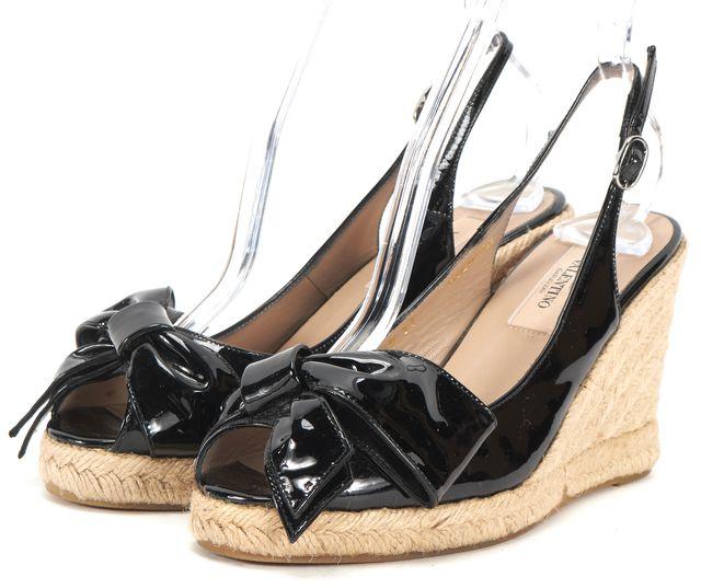 VALENTINO Black Patent Leather Bow Embellished Peep-Toe Espadrille Wedges