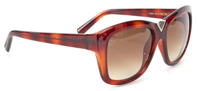 VALENTINO Brown Acetate Square Frame Gradient Lens Sunglasses w Case