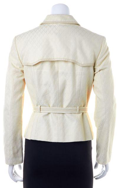 VALENTINO Ivory Leather Trimmed Belt Wrap Basic Jacket
