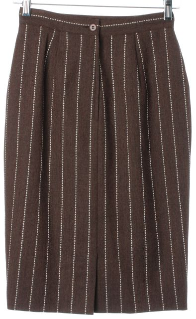 VALENTINO VINTAGE Brown White Striped Wool Straight Skirt