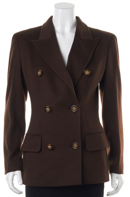 VALENTINO Brown Wool Double Breasted Blazer