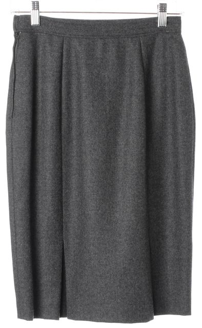 VALENTINO Vintage Gray Wool Knee-Length Straight Skirt