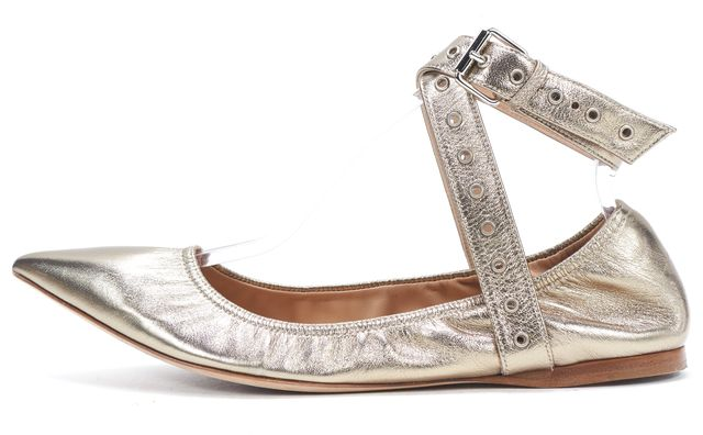 VALENTINO Gold Leather Pointed Toe Ankle Wrap Ballet Flats