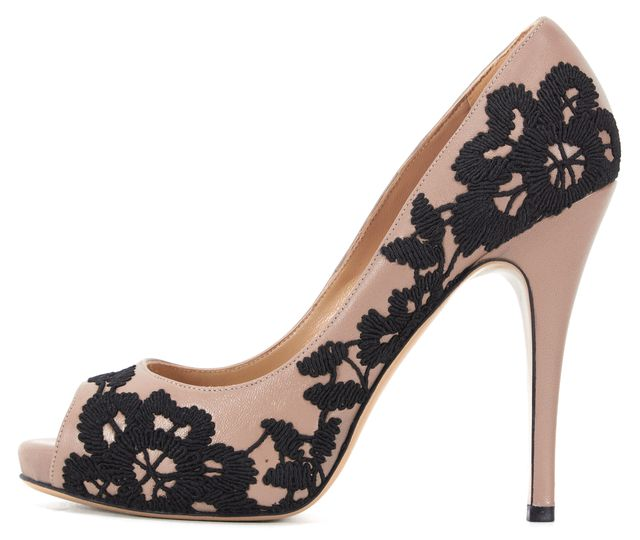 VALENTINO Beige Leather Black Floral Embroidered Peep Toe Pumps