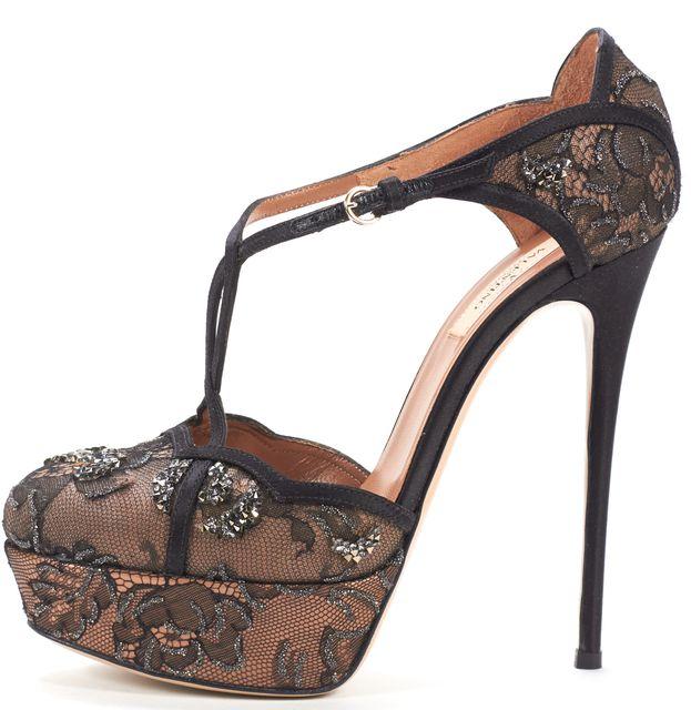 VALENTINO Black Nude Lace T-Strap Stud Embellished Platform Pumps Heels
