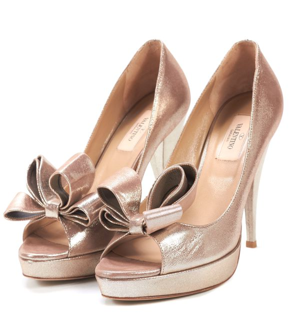 VALENTINO Gold Leather Bow Embellished Open Toe Pump Heels
