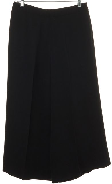 VALENTINO Black Silk High Rise Wide Leg Cropped Gaucho Dress Pants