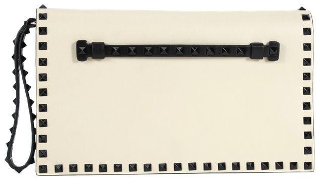 VALENTINO Light Beige Leather Black Rockstud Embellished Wristlet Clutch Bag