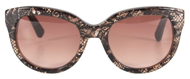 VALENTINO Black White Lace Print Acetate Frame Brown Gradient Lens Sunglasses