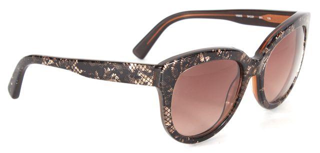 VALENTINO Black White Lace Print Acetate Frame Brown Gradient Lens Sunglasses