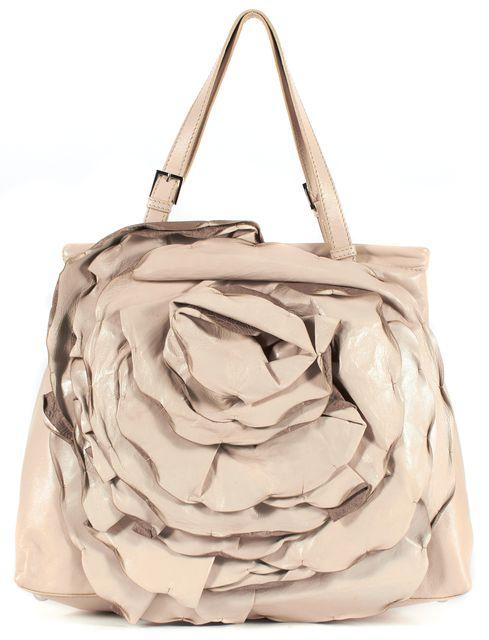 VALENTINO Beige Leather Garavani Rose Rosette Flower Petal Tote Shoulder Bag