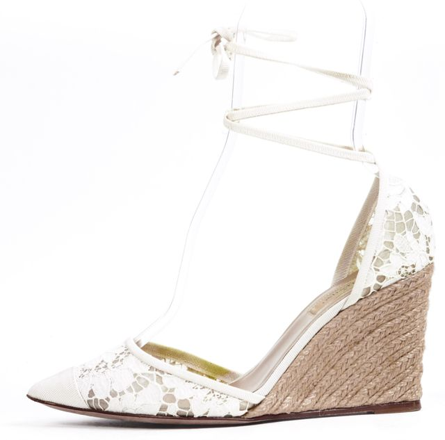 VALENTINO Ivory Floral Lace Pointed Toe Ankle Tie Espadrille Wedges