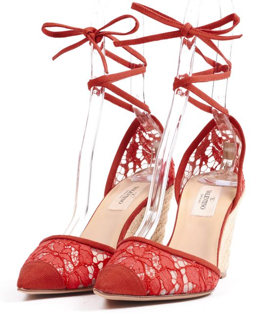 VALENTINO /NWB Red Lace Wrap Around Pointed Toe Espadrille Wedges
