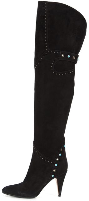 VALENTINO Black Studded Embellished Suede Over Knee Boots Tall Boots
