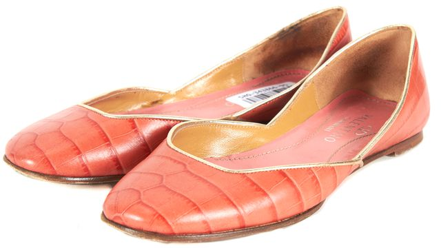 VALENTINO Salmon Crocodile Embossed Leather d'Orsay Flats