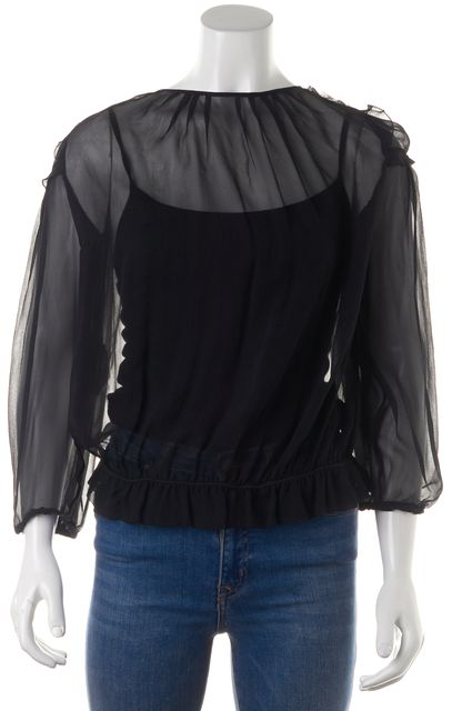 VALENTINO Black Bead Embellished Chiffon Sheer Blouse