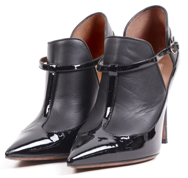 VALENTINO Leather T-Strap Pointed Toe Booties Heels