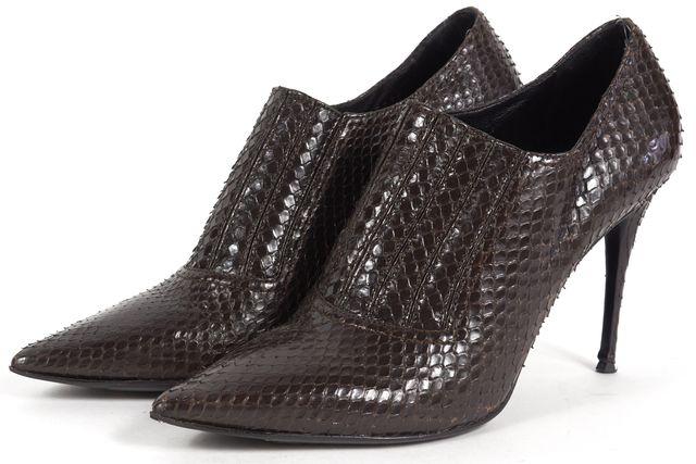 VALENTINO Snakeskin Pointed Toe Ankle Boot Heels