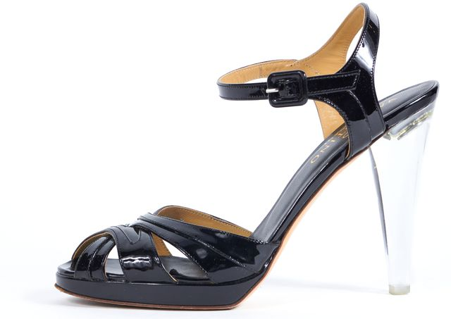 VALENTINO Black Patent Leather Cross Toe Lucite Sandal Heels 38.5