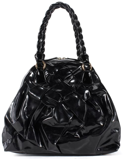 VALENTINO Black Patent Leather Woven Braided Handle Shoulder Bag