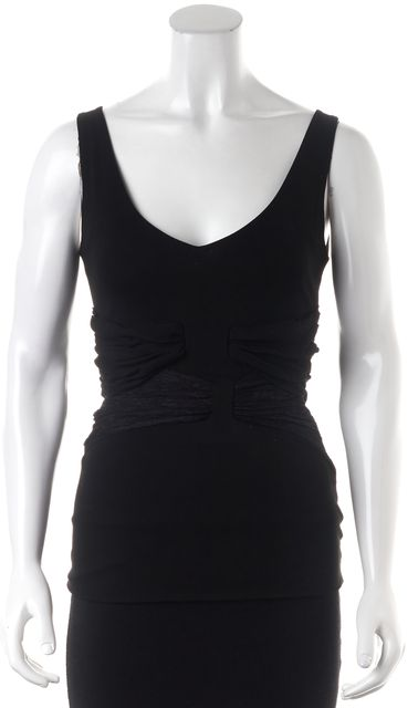 VALENTINO Black Sleeveless V-Neck Lace Trim Wrap Waist Top