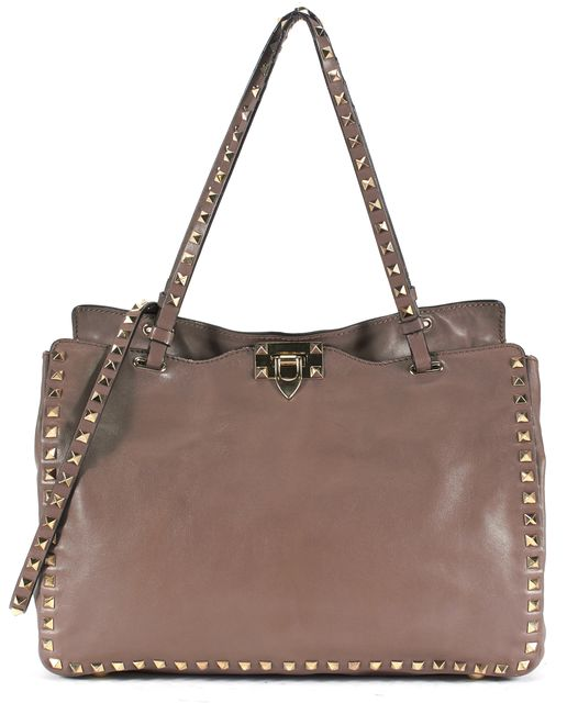 VALENTINO Brown Leather Gold Tone Rockstud Trapeze Tote Handbag