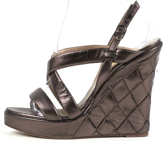 VALENTINO Bronze Quilted Leather Platform Sandal Wedges