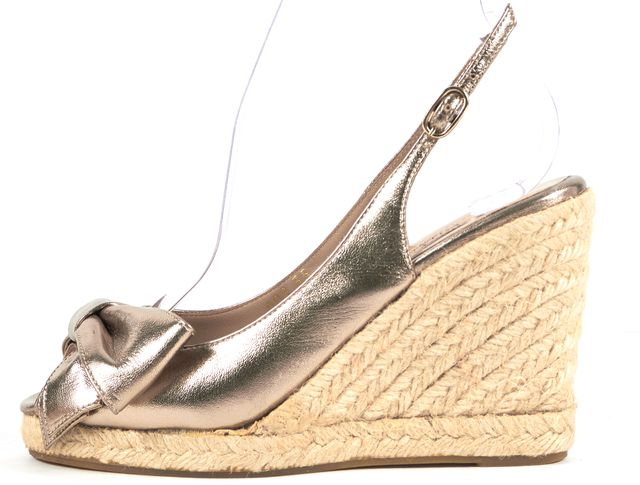 VALENTINO Gold Leather Espadrille Sandal Wedges