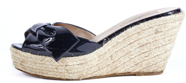 VALENTINO Black Patent Leather Slip-On Espadrille Wedge Shoes