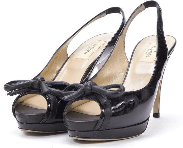 VALENTINO Black Patent Leather Pretty Bow Platform Slingback Heel